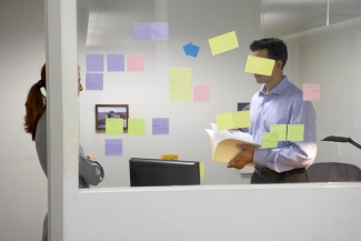Office scene with post it notes