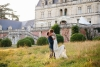wedding photography bride and groom at sunset in front of chateau